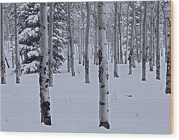 Wood Print featuring the photograph Aspens In The Snow by Kristal Kraft