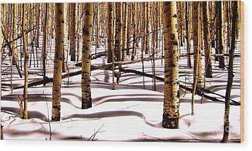 Aspens In Winter Wood Print by Claudette Bujold-Poirier