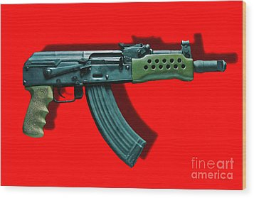 Assault Rifle Pop Art - 20130120 - V1 Wood Print by Wingsdomain Art and Photography