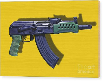 Assault Rifle Pop Art - 20130120 - V2 Wood Print by Wingsdomain Art and Photography