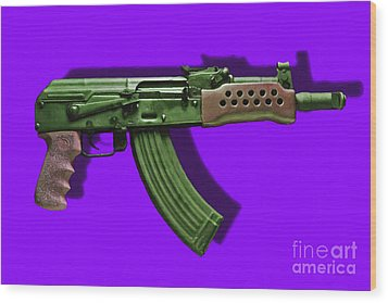Assault Rifle Pop Art - 20130120 - V4 Wood Print by Wingsdomain Art and Photography