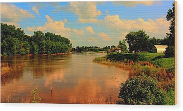 Assiniboine River Hdr Wood Print