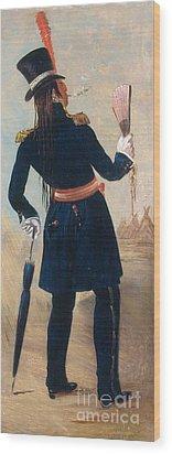 Assiniboine Warrior In Regimental Wood Print by Photo Researchers