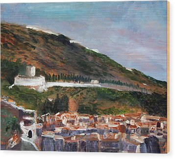 Assisi Hillside Wood Print