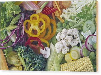 Assorted Vegetables Wood Print by Science Photo Library