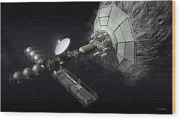 Asteroid Mining And Processing Wood Print by Bryan Versteeg