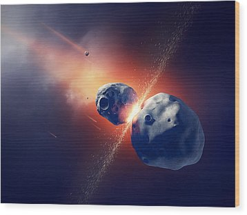 Asteroids Collide And Explode  In Space Wood Print by Johan Swanepoel
