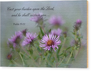 Asters With Scripture Wood Print