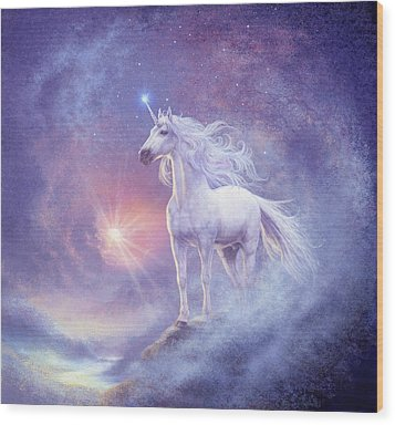Astral Unicorn Wood Print by Steve Read
