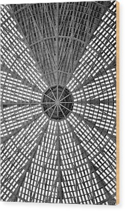 Astrodome Ceiling Wood Print by Benjamin Yeager