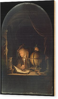 Astronomer By Candlelight Wood Print by Gerrit Dou