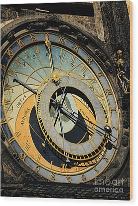 Astronomical Clock In Prague Wood Print by Jelena Jovanovic