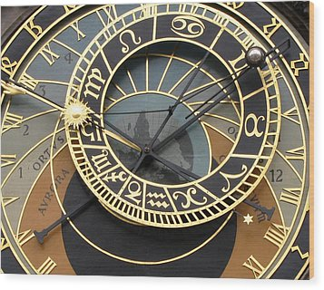 Astronomical Clock Prague Wood Print by Eva Csilla Horvath
