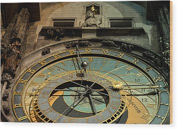 Astronomical Clock Wood Print by Sergey Simanovsky