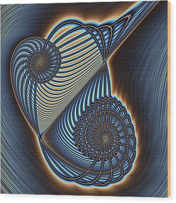 Asymmetric Wire Bow Spiral Wood Print by Mark Eggleston