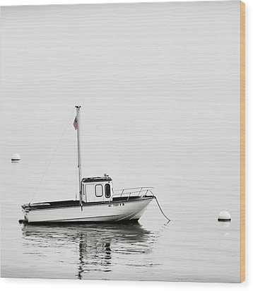 At Anchor Bar Harbor Maine Black And White Square Wood Print by Carol Leigh