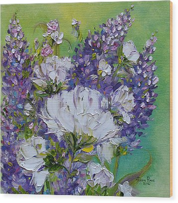 Wood Print featuring the painting At Peg's Request by Judith Rhue