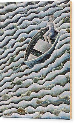 At Sea Wood Print by Celia Washington