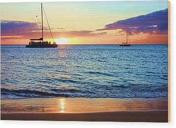 Wood Print featuring the photograph At Sea Sunset by Robert  Aycock