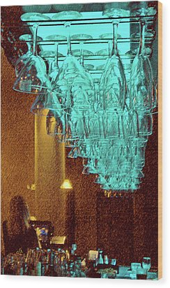 At The Bar Wood Print by Ben and Raisa Gertsberg