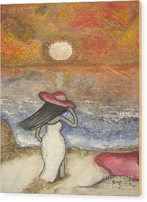 At The Beach Acrylic Abstract Art By Saribelle Wood Print
