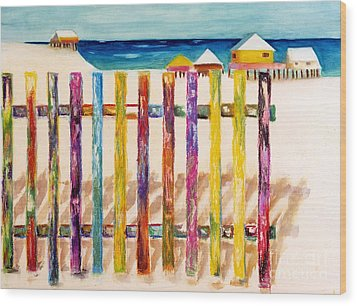 At The Beach Wood Print by Frances Marino