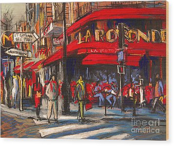 At The Cafe De La Rotonde Paris Wood Print