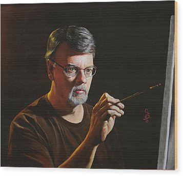 Wood Print featuring the painting At The Easel Self Portrait by Glenn Beasley