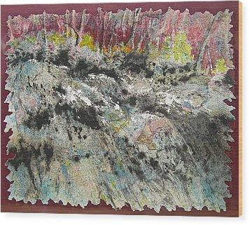 At The Falls Wood Print by Carolyn Rosenberger