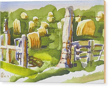 At The Farm Baling Hay II Wood Print by Kip DeVore