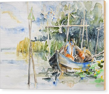 At The Fish Trap Wood Print by Barbara Pommerenke