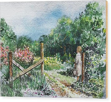 Wood Print featuring the painting At The Gate Summer Landscape by Irina Sztukowski