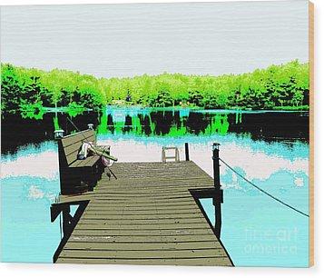 At The Lake Wood Print by Sally Simon