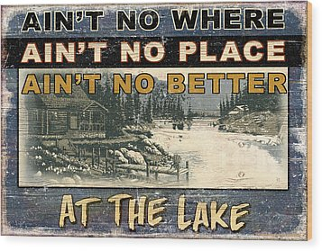 At The Lake Sign Wood Print by JQ Licensing