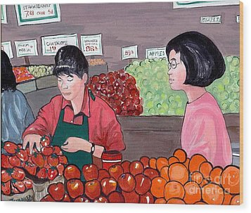 Wood Print featuring the painting At The Market by Joyce Gebauer