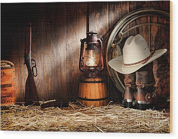 At The Old Ranch Wood Print by Olivier Le Queinec