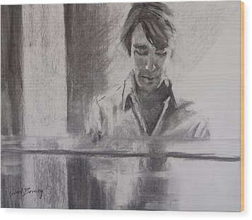 At The Piano Wood Print by Carol Berning
