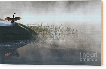 At The Pond Wood Print by Monika A Leon