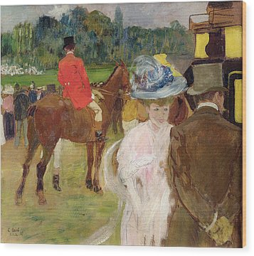 At The Races At Auteuil Wood Print by Leon Georges Carre