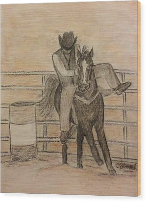 At The Rodeo Wood Print by Christy Saunders Church