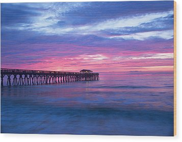 Myrtle Beach State Park Pier Sunrise Wood Print by Vizual Studio