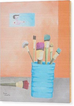 At The Studio Wood Print by Isaac Alcantar