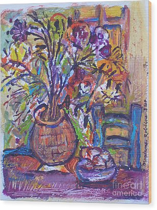 At The Table Wood Print by Marlene Robbins
