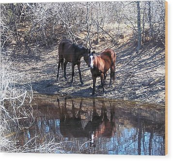 At The Water Hole Wood Print by Rosalie Klidies