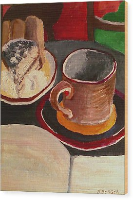 Wood Print featuring the painting At Witches Brew Tiramisu Coffee And Writing Too by Darlene Berger