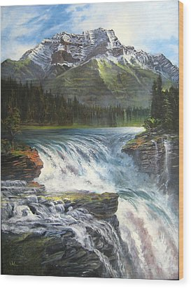 Wood Print featuring the painting Athabasca Falls by LaVonne Hand
