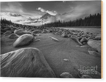 Athabasca River Water Worn Stones Wood Print by Dan Jurak