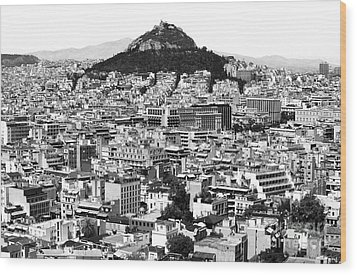 Athens City View In Black And White Wood Print by John Rizzuto