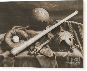 Athletic Equipment 1940 Wood Print by Padre Art