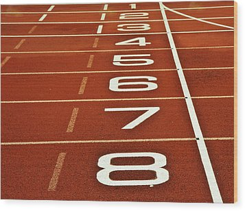 Athletics Running Track Start Finish Line Wood Print by Matthew Gibson